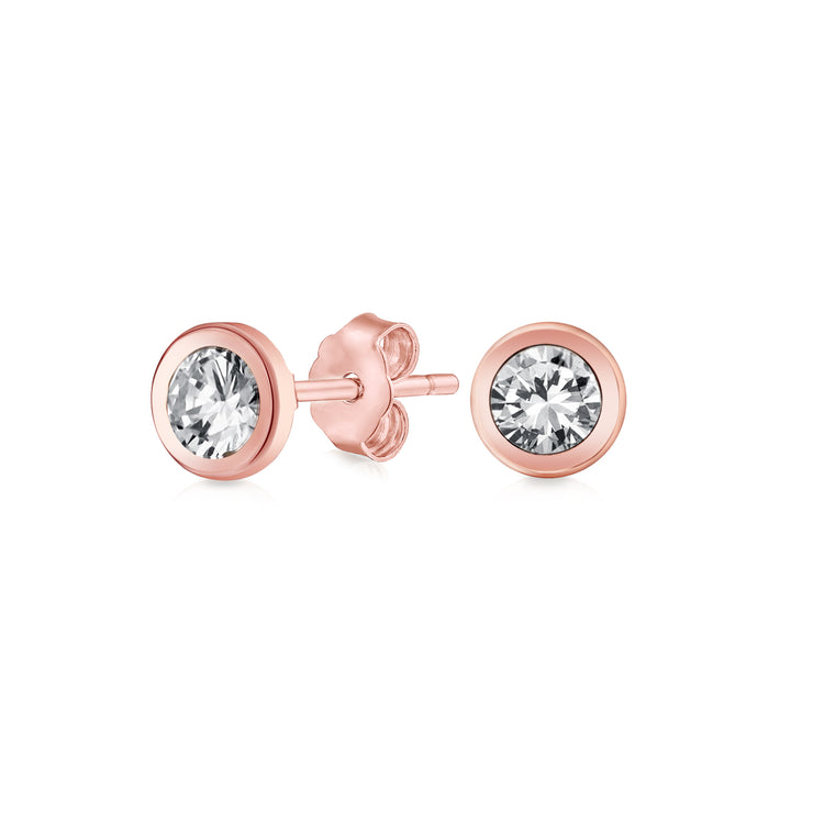 Bezel-Set Round Cubic Zirconia Stud Earrings CZ Real 14K Rose Gold