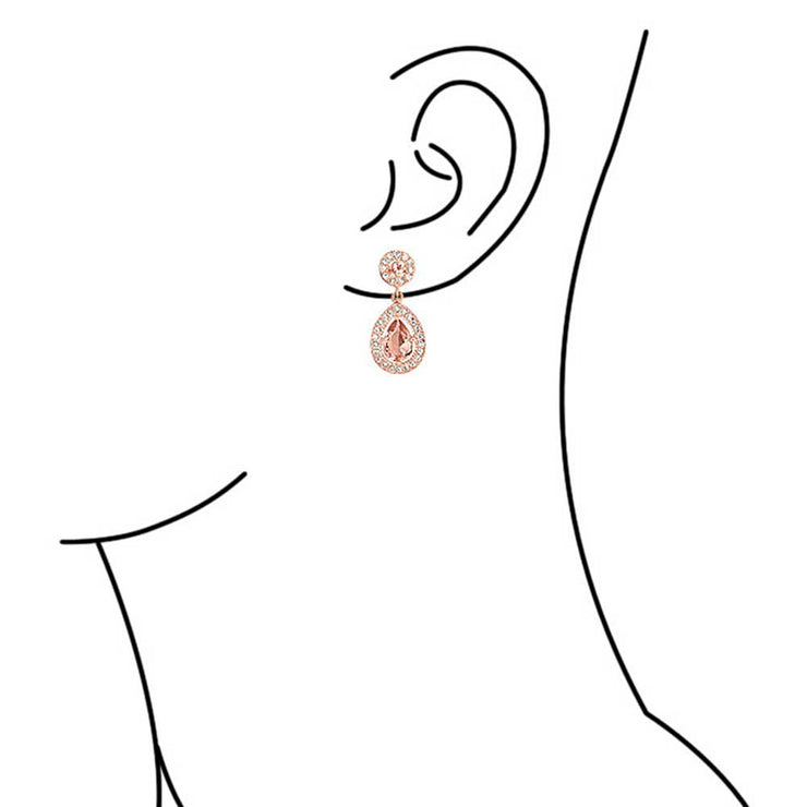 Pink CZ Dangle Earrings  Simulated  Morganite Rose Gold Plated Silver Plated