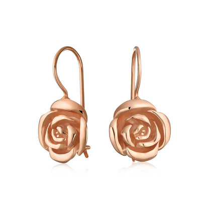 Rose Flower Drop Earrings Black Rose Gold Plated 925 Sterling Silver