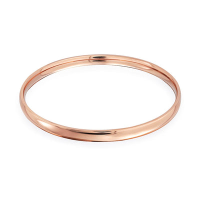 Domed Stackable High Bangle Bracelet Rose Gold Plated Stainless Steel