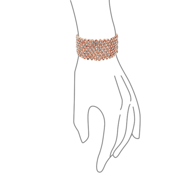 Fashion Pink Rose Gold Plated Crystal Statement Stretch Bracelet Prom