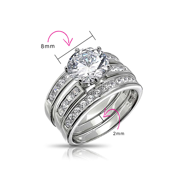 3.5CT Solitaire AAA CZ Enhancer Wide Engagement Wedding Ring Band Set