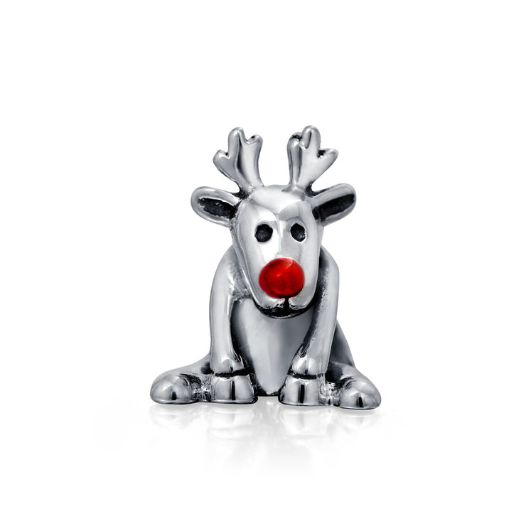 Christmas Rudolph Red Nose Reindeer Charm Bead 925 Sterling Silver