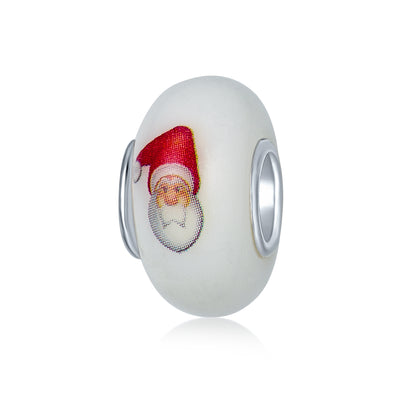 Holiday Christmas Santa Claus Murano Glass Bead Charm Sterling Silver