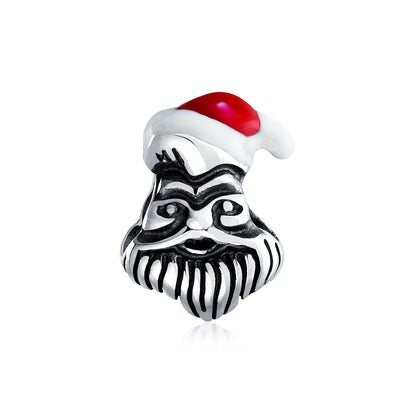 Holiday Santa Claus Christmas Winter bead Charm 925 Sterling Silver