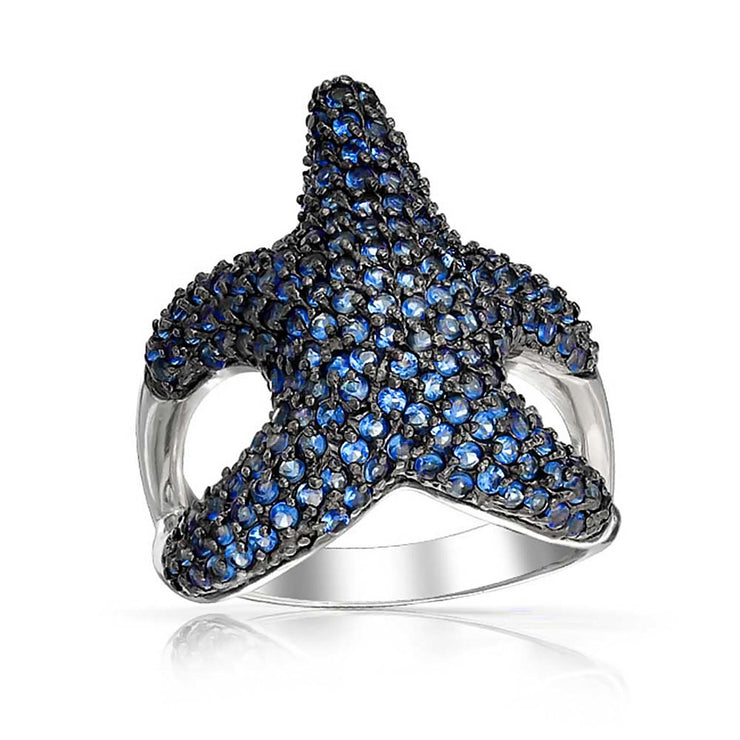 Pave Navy Blue CZ Large Starfish Ring Pave Black Silver Plated Brass