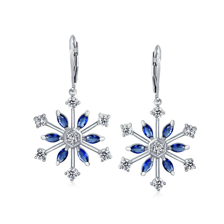 Snowflake Leverback Drop Earrings Blue Cubic Zirconia Silver Plated