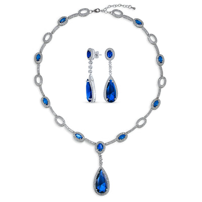 Vintage Blue Halo Imitation Sapphire CZ Statement Y Necklace Earrings