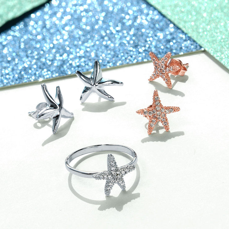 Tiny Pave CZ Nautical Tropical Beach Starfish Ring 925 Sterling Silver