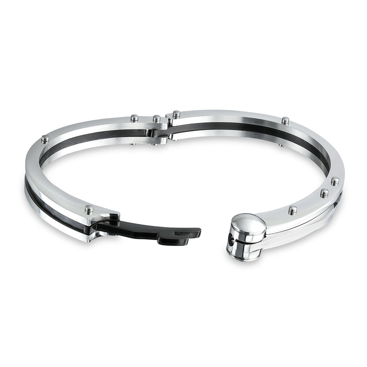 Partner in Crime Handcuff Bracelet Bangle Black Inlay Stainless Steel