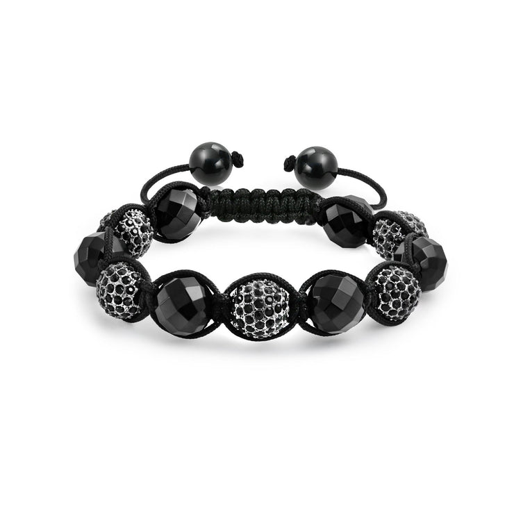 Black Onyx Pave Crystal Ball Shamballa Inspired Bracelet Black Cord