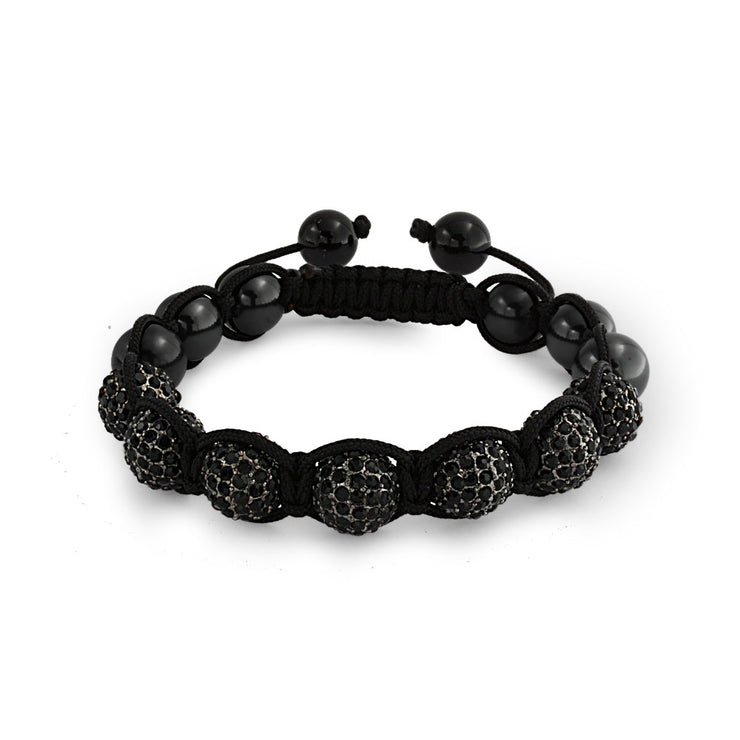 Black Crystal Ball Hematite Shamballa Inspired Bracelet Black Cord