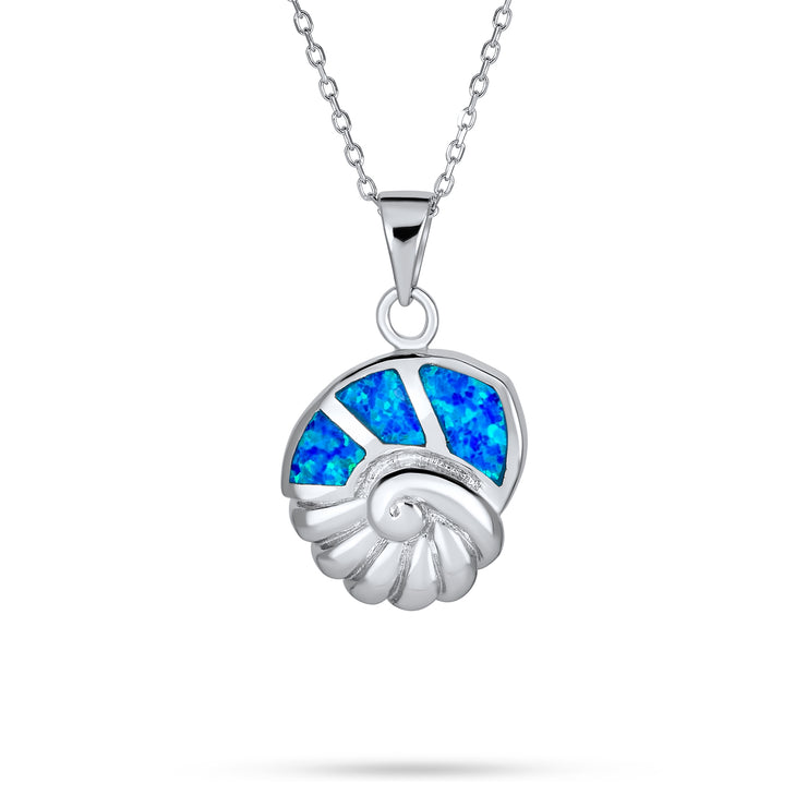 Seashell Lover Pendant Blue Created Opal Necklace Sterling Silver