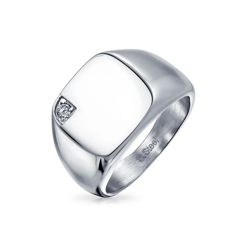 Mens CZ Accent Engravable Square Signet Ring For Men Stainless Steel