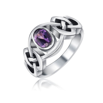 Amethyst Purple Celtic Knot Triquetra Ring 1MM Band Sterling Silver