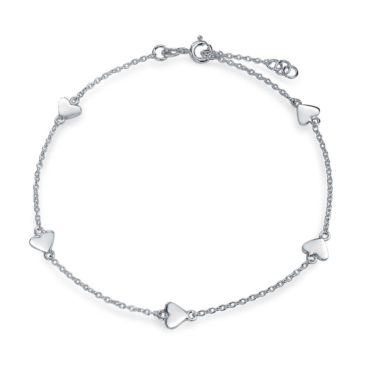 Multi Love Heart Station Anklet Chain Ankle Bracelet Sterling Silver
