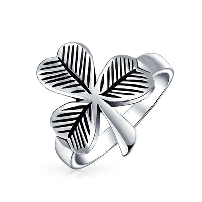 Celtic Irish Trinity Shamrock Clover Ring Oxidized 925 Sterling Silver