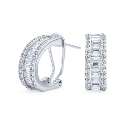 Wedding Bride CZ Hoop Stud Earring Omega Back Earrings Sterling Silver