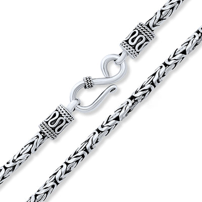 Solid Bali Byzantine Chain Necklace 2 5 MM Necklace Sterling Silver
