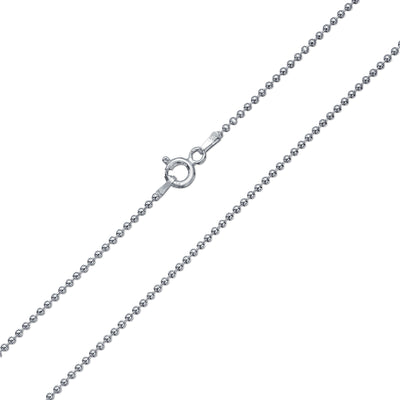 Ball Bead Chain Necklace 150 Gauge Italian High Shine Sterling Silver