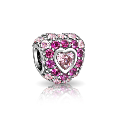 Hot Pink Fuchsia Cubic Zirconia CZ Pave Heart Charm Bead 925 Sterling