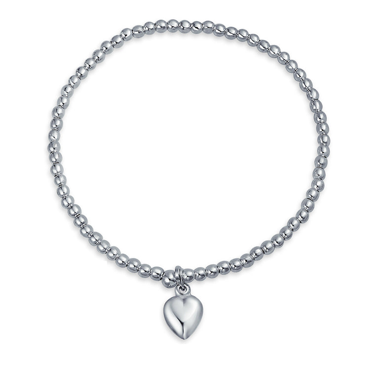 Heart Tag Charm 3MM Ball Bead Stretch Bracelet 925 Sterling Silver
