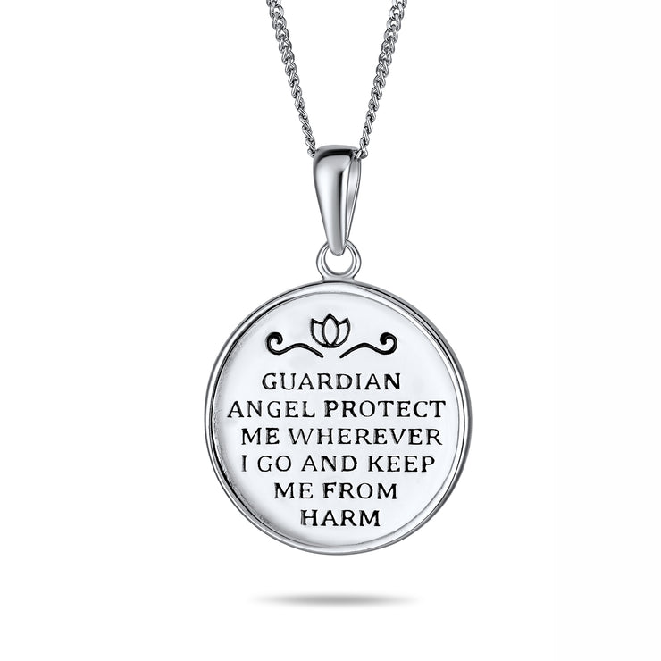 Guardian Angel Round Medallion Medal Pendant Necklace Sterling Silver