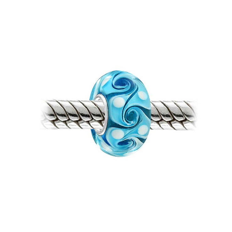 Turquoise Blue Wave Swirl Murano Glass Bead Charm 925 Sterling Silver