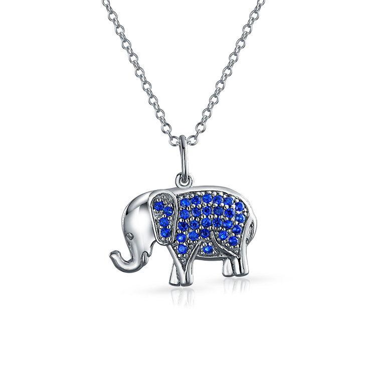 Elephant Up Trunk Blue Pendant Necklace Imitation Sapphire Pave CZ
