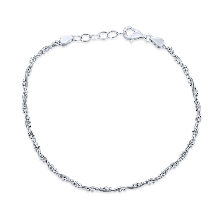 Twisted Bead Snake Chain Anklet Hot Wife 925 Sterling Silver Extender