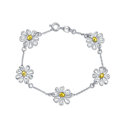2 Tone Daisy Flowers Charm Bracelet 14K Gold Plated Sterling Silver