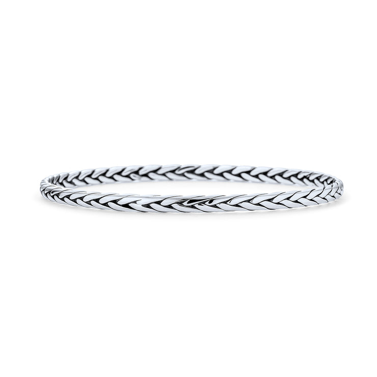 Wheat Braided Twisted Woven Rope Round Bangle Bracelet Sterling Silver