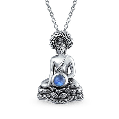 Thai Sitting Buddha Moonstone Sterling Silver Amulet Pendant Necklace
