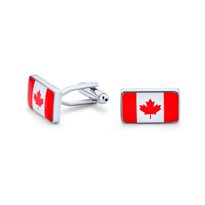 Canadian Flag Red Maple Leaf Flag Red White Shirt Cufflinks Steel