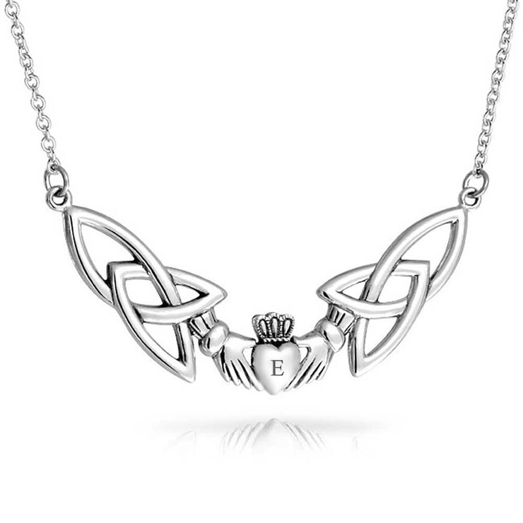 Celtic Trinity Love Knot Claddagh Pendant Sterling Silver Necklace