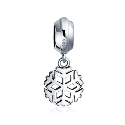 Christmas Snowflake Silver Dangle Charm Bead 925 Sterling Silver