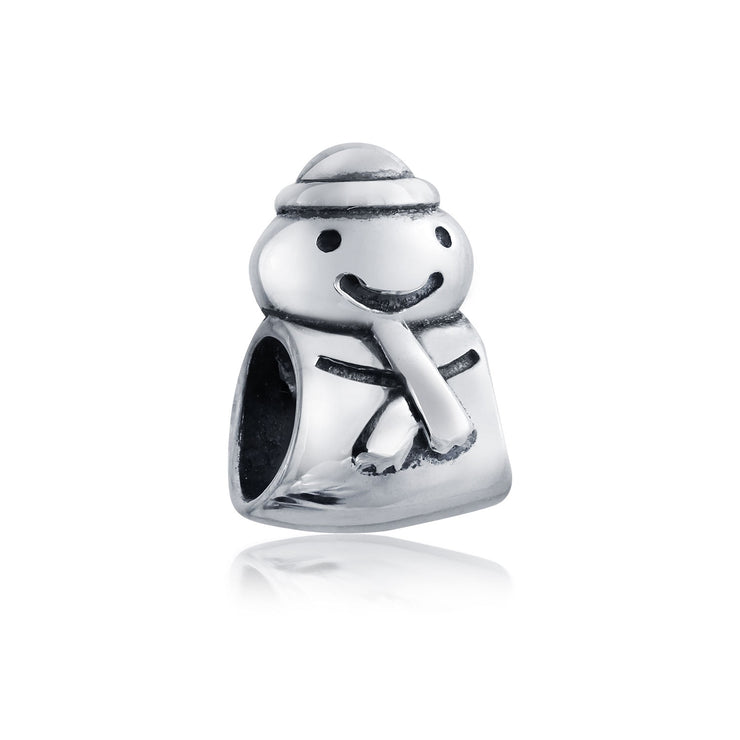 Holiday Snowman Christmas Winter bead Charm 925 Sterling Silver