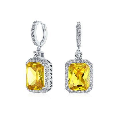 10CT Yellow Square CZ Dangle Earrings Simulated Citrine Silver Plated