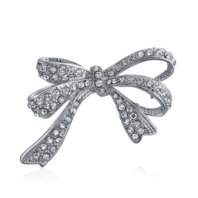 Bow Ribbon Shape Pave CZ Wedding Brooch Pin Silver Plated