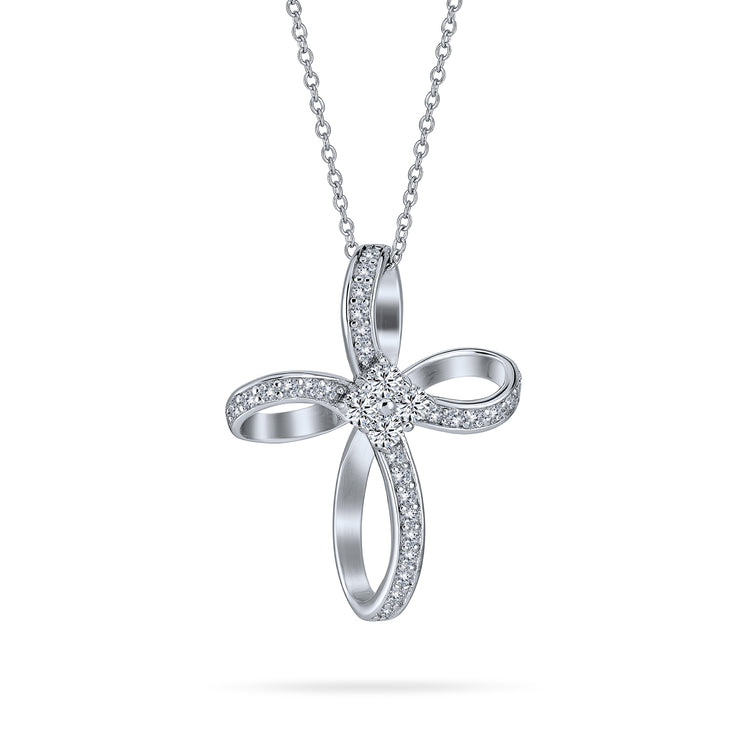 Infinity Ribbon Twist Cross Pendant Necklace Pave CZ Sterling Silver