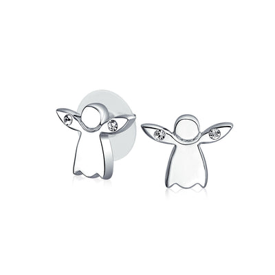 Tiny Crystal Guardian Angel Religious Stud Earrings Silver Plated