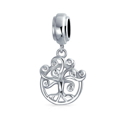 Family Dreamer Wishing Tree Of Life Dangle Bead Charm Sterling Silver