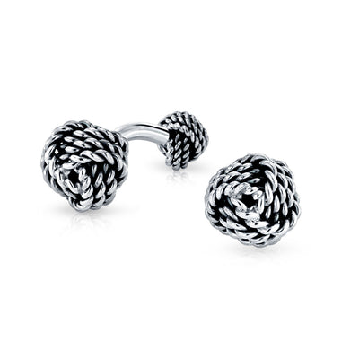 Knot Sided Woven Rope Braid Twist Cufflinks 925 Sterling Silver