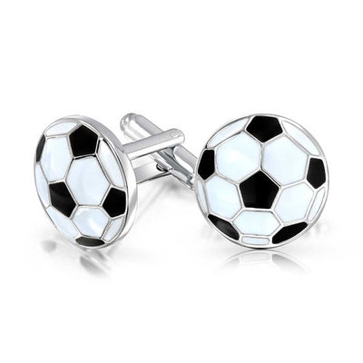 Soccer Football Sports Coach Black Cufflinks Shirt Stainless Steel