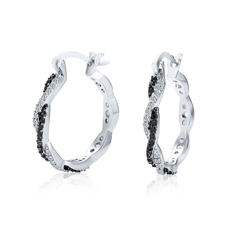 Black Spiral Infinity Twist Pave CZ Prom Hoop Earrings Silver Plated