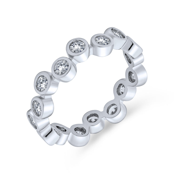Bubble Circle Zig Zag Bezel Band CZ Eternity Rings 925 Sterling Silver