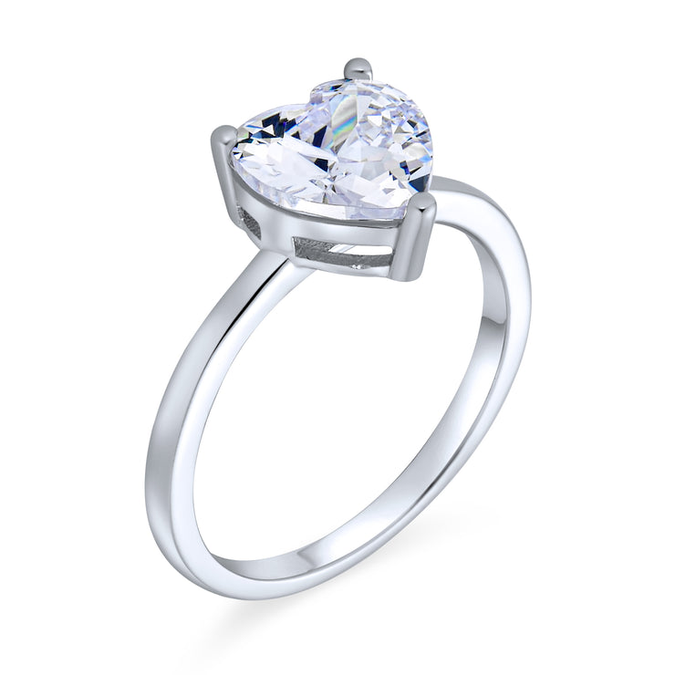 2CT AAA CZ Solitaire Heart Engagement Ring Band Ring Sterling Silver