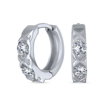 XOXO CZ Hugs Kisses Hoop Earrings Cubic Zirconia Sterling Silver