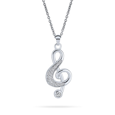 Treble Clef Note Music Lover Pave CZ Silver Plated Pendant Necklace