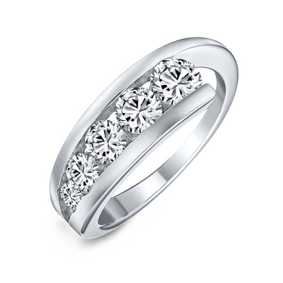 Love Is A Journey AAA CZ Wedding Band Ring 925 Sterling Silver